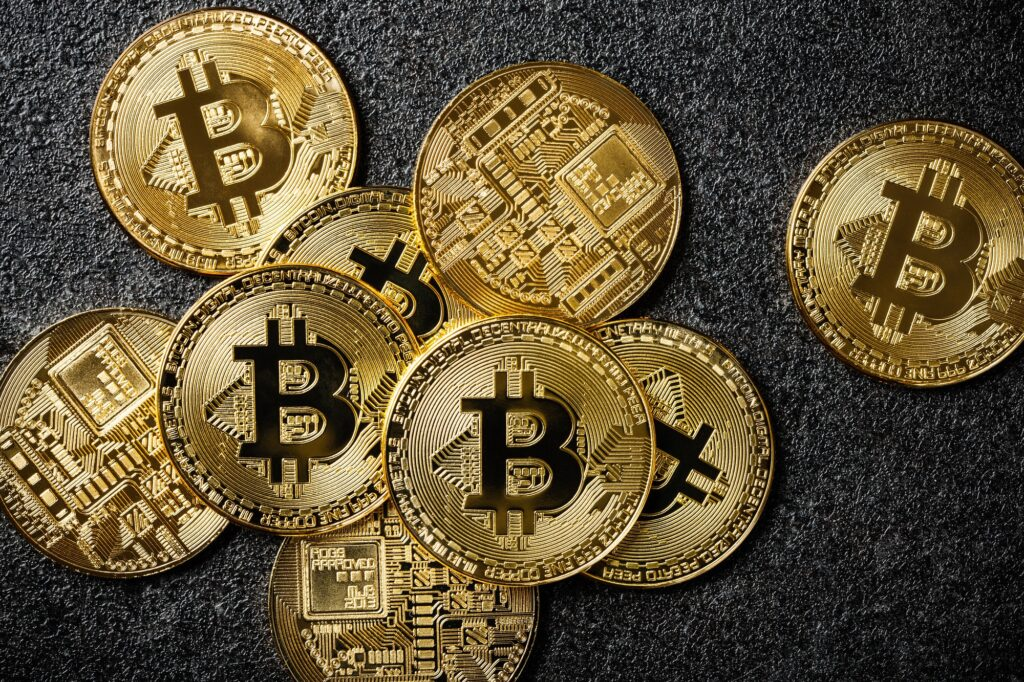 Bitcoin coins on black background