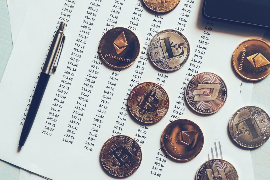 Cryptocurrency coins with exchange rate table